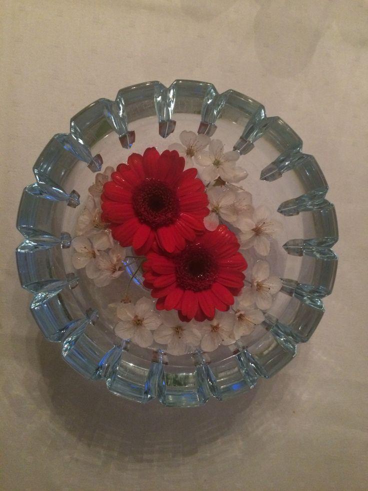 Til 17. Mai: rød gerbera og hvit kirsebærblomst i lys blå loppis-krystall