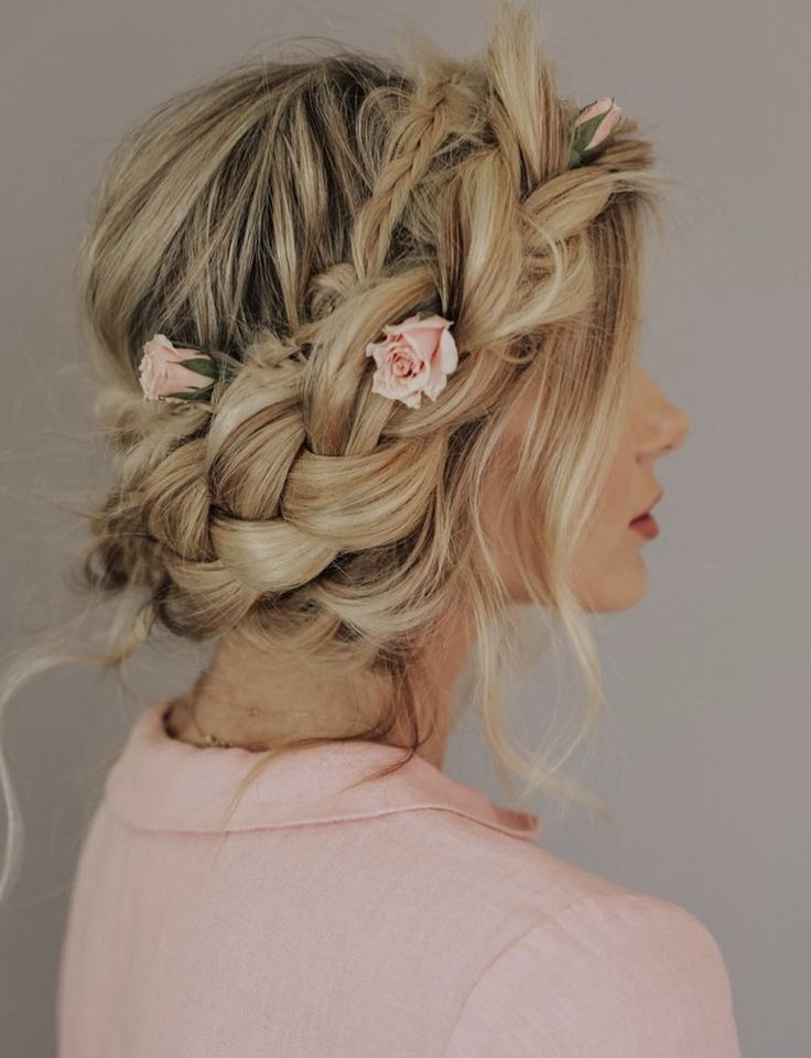 Braided Updo With Sweet Pink Flowers Pretty Updo Hairstyles Hairstyles For Bridesmaids Barefoot Blonde Hair Rustic Wedding Hairstyles Braided Hairstyles