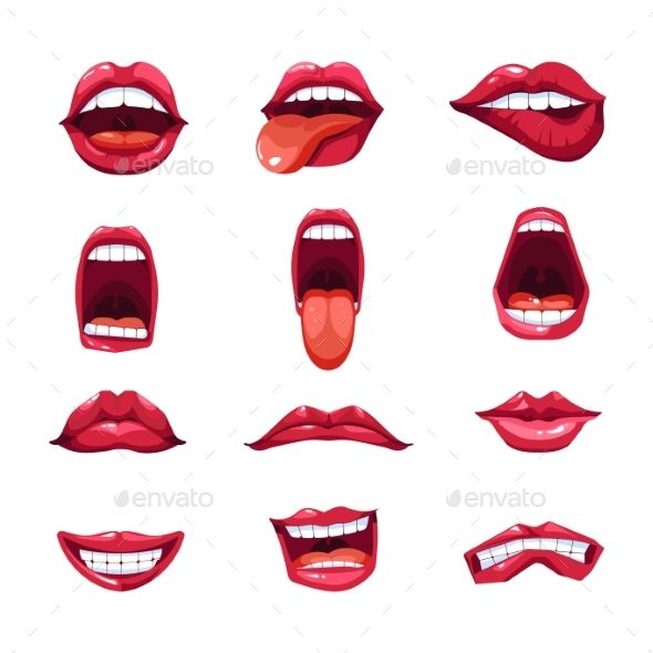 Mouth Lips And Tongue Smile Vector Emoji Icons Tongue Lips
