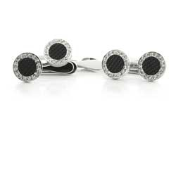 Deakin & Francis White Gold Pave Diamond and Carved Black Onyx Button Covers