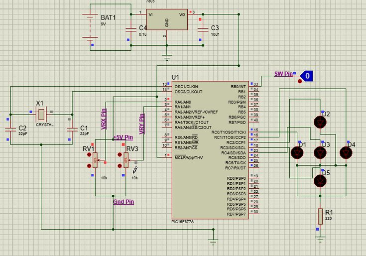 Simulation View Of Interfacing Joystick With Pic Micro