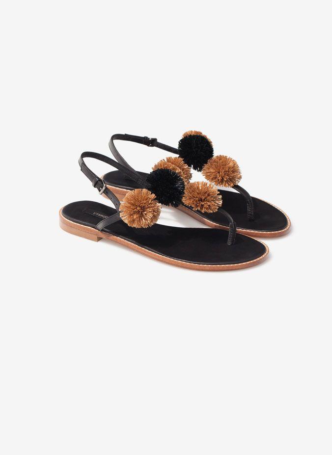 Pompom sandals - New arrivals - Footwear - Uterqüe Spain