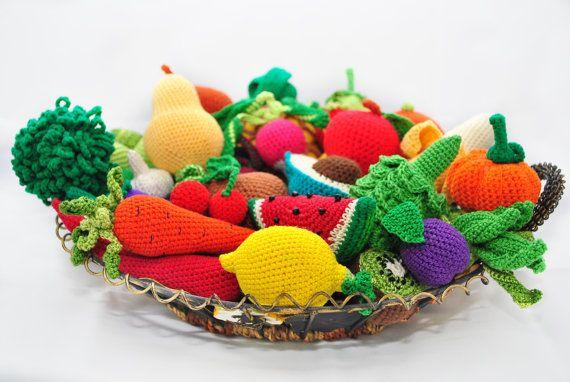 Patrón de amigurumi. 35 ganchillo juego patrones de alimentos. Libro de ganchillo. Crochet patrones de juguetes. Fruta de ganchillo. Vegetal de ganchillo.