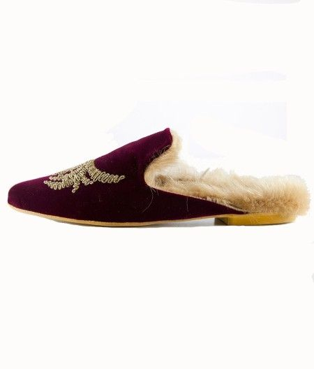 shop Gia Couture  Shoes: Gia Couture slippers in velvet and lamb fur. Bordeaux with golden embrodery, leather sole and insole of foam.