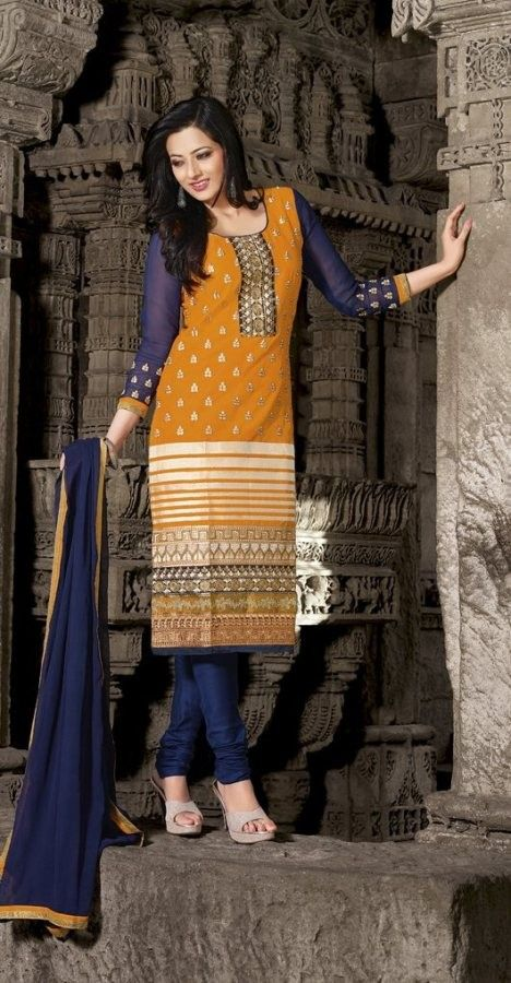 #Blue & Orange #Cotton #Salwar #Kameez With A #Chiffon #Dupatta  #EID #EIDcollection @mokshafashions