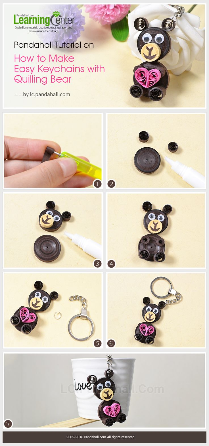 Tutorial on How to Make Easy Keychains with Quilling Bear from LC.Pandahall.com