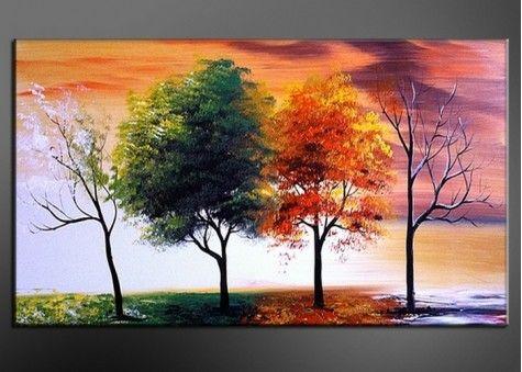 Modern Tree Wall Art - Four Seasons 373s- 60 x 32in