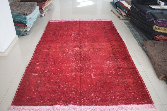 Overdyed Rug Vintage Anatolian Overdyed Carpet by AnatolianSpindle