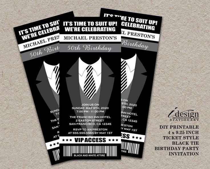 Tuxedo 50th Birthday Party Ticket Invitation | Printable Ticket Style All Black Themed Birthday Invitations For Men | Black Tie Invites by iDesignStationery on Etsy
