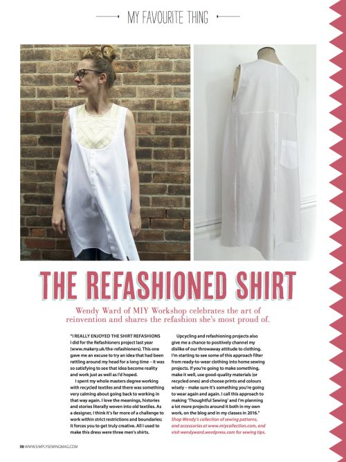 A refashioned shirt - my favourite thing for this month's Simply Sewing magazine.