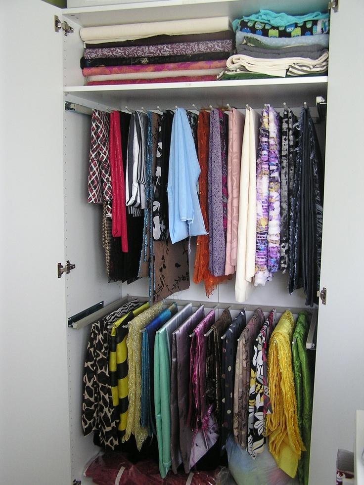 Fabric storage using pant hanger rails inside stand alone for Inside wardrobe storage