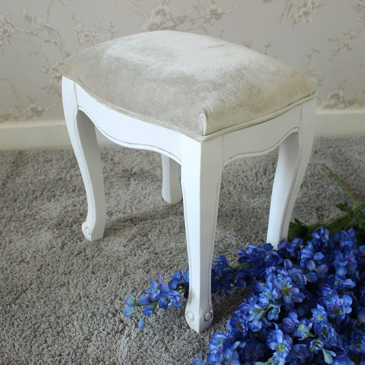 Elise White Range - Dressing Table Stool Delightfully elegeant stool to complement our Elise Range dressing table Designed with beautifully carved legs and painted in a white colour The perfect additin to complete your bedroom decor Made from a combination of Beech and Birch type wood