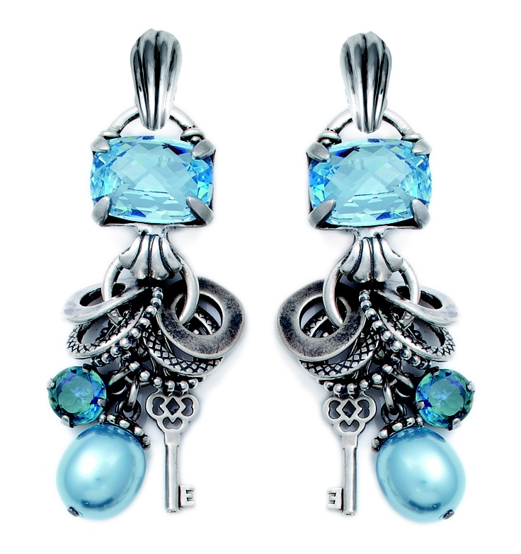 Contemporary aquamarine charm earrings with lustrous light blue pearls, Swarovski Crystals and burnished silver textured rings (E2389). Clip-on's are detachable.