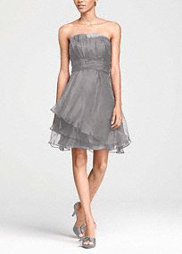 Strapless, organza, A-Linedress is elegant and feminine, perfect for any member of your bridal party.  Strapless, empirebodice features unique pleating detail for added dimension.  Ruched waist creates a flawless and flattering look.  Layered organza skirt is soft and romantic.  Fully lined. Back zip. Imported polyester. Dry clean only.  Select colors are on sale. Please click color and size to view pricing