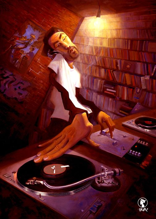 One of my favorite Justin Bua pieces. The DJ by BUA - Original not for Sale - #ART #MUSIC #DJ