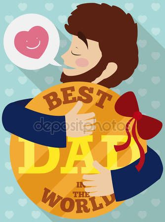 Proud Dad Hugging his Lovely Special Gift in Father's Day