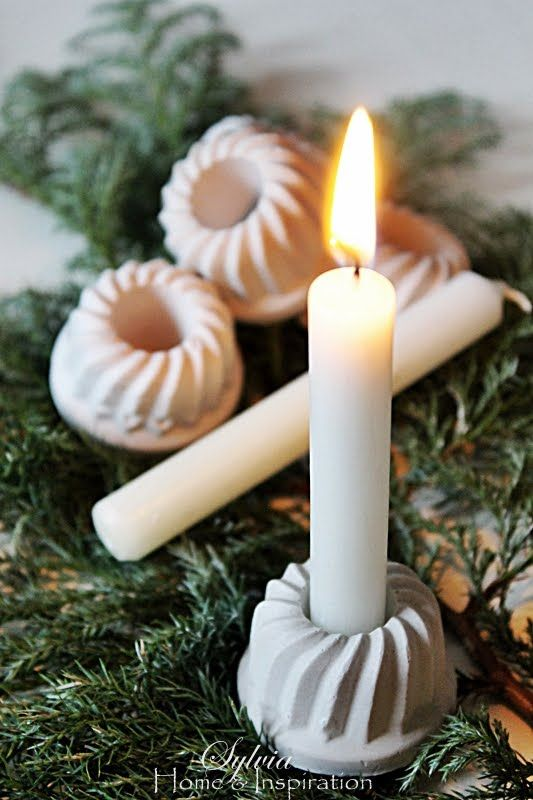 Inspiration: fill small turban tins with plaster to make candle holders. Idea by Home & Inspiration.