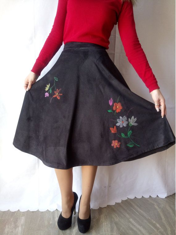 Black classic skirt with Handmade Painted flowers.One of a Kind!