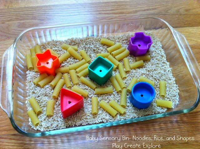 Play Create Explore: Baby Sensory Bin with Noodles, Rice, and Shapes