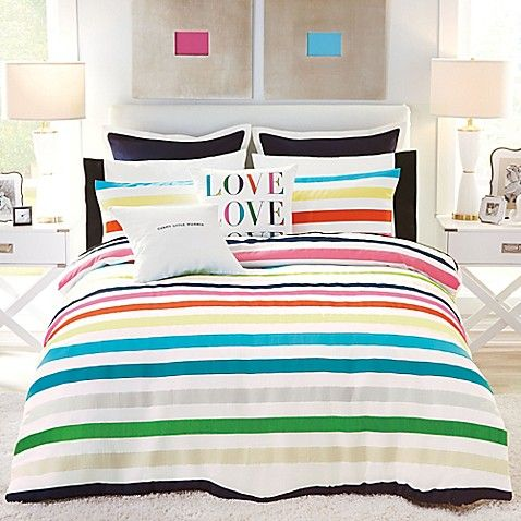 Fun And Funky The Candy Stripe Comforter Set From Kate Spade New York Will Add A Bold Pop Of Color To Y Comforter Sets Striped Duvet Covers Kate Spade Bedroom