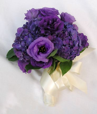 Hydrangea and lisianthus purple bouquet.  I'm adding hyacinth, iris, and carnations to this design.