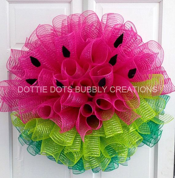 Watermelon Deco Mesh Wreath made with curl method