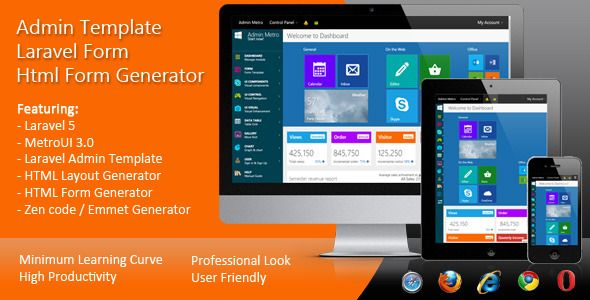 Laravel Form, HTML Layout Generator, HTML Form Generator, Admin Template for Laravel 5 and Laravel 4.2Creating Metro UI layout become very easy with Metro UI Power Builder from scriptunited. http://codecanyon.net/item/laravel-form-html-form-generator-admin-template/12787399?ref=jyostna