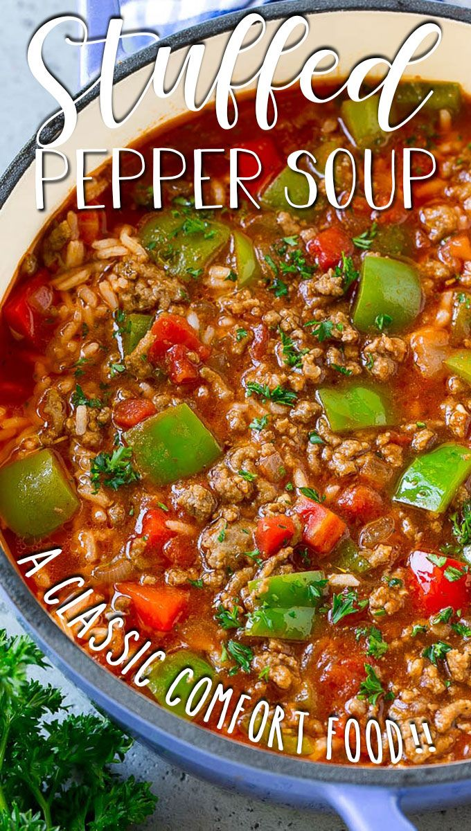 Stuffed Pepper Soup In 2020 Stuffed Pepper Soup Stuffed Peppers Soup With Ground Beef
