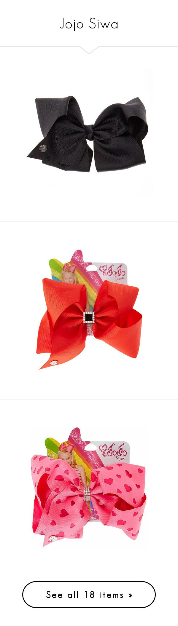 """Jojo Siwa"" by brainyxbat ❤ liked on Polyvore featuring accessories, hair accessories, sparkly hair accessories, hair bows, bow hair accessories, siwa, metal hair accessories, valentines day hair bows, rhinestone hair accessories and pink hair bow"