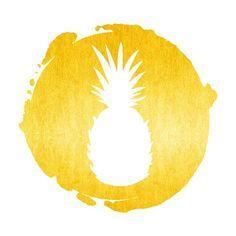 Foil Flocked Canvas Print – 30cm x 30cm – Pineapple.