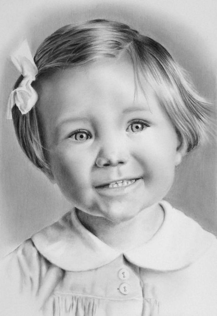 Изумительные детские портреты, нарисованы простым карандашом.  Оцените!