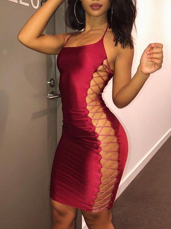0a85b0dbce2 Sexy Side Lace-up Bodycon Mini Dress - Red