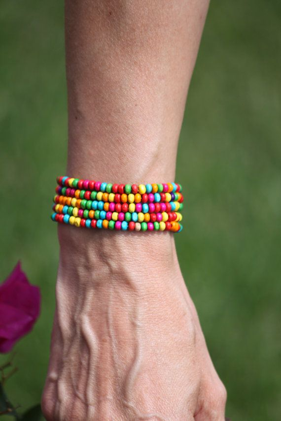 Random colour wooden beaded bracelet by DeaJewelryStore on Etsy
