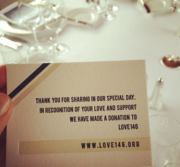 Charitable Donation Instead Of Wedding Gift : Instead of a wedding favor, donate to a meaningful charity~ Nerd ...