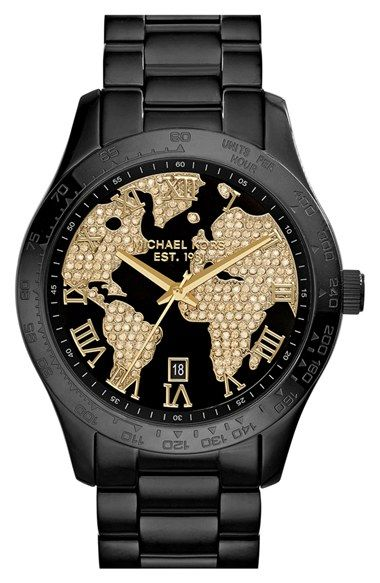 109 best michael kors images on pinterest michael kors watch michael kors layton black ip crystal world map dial watch gumiabroncs Images