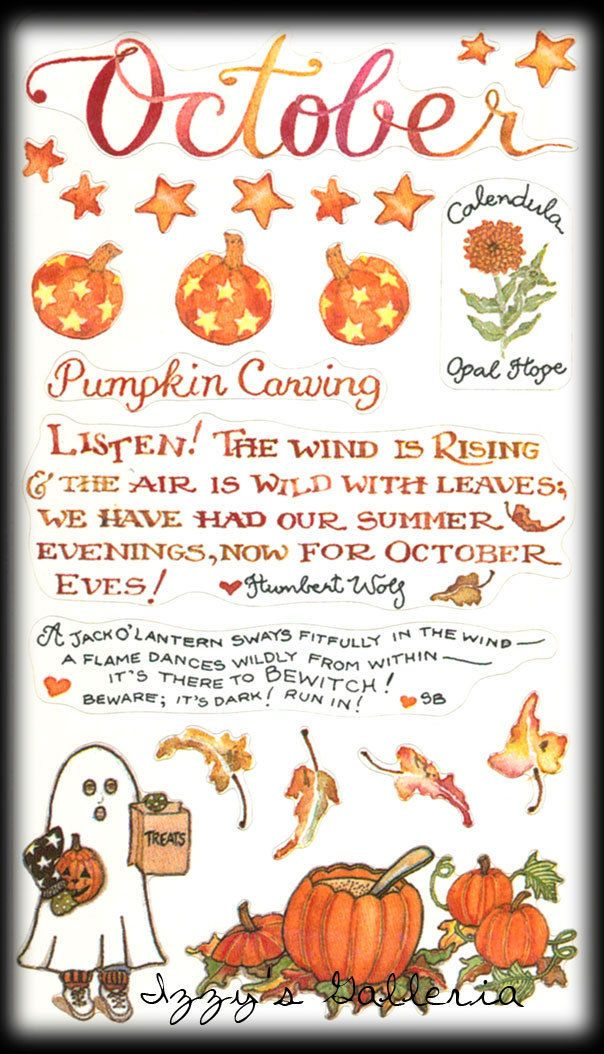 Susan Branch Vintage Retired October Halloween Pumpkin Carving Stickers | eBay