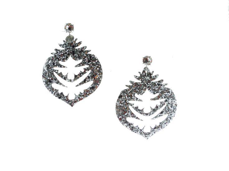 Orecchini in tessuto #glitter #bijoux #pepitosa #glitter #silver #light