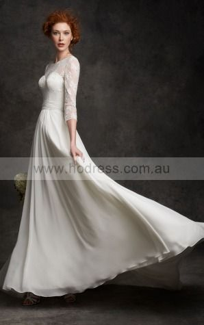 Lace-up  A-line Natural Scoop Wedding Dresses hecf1007