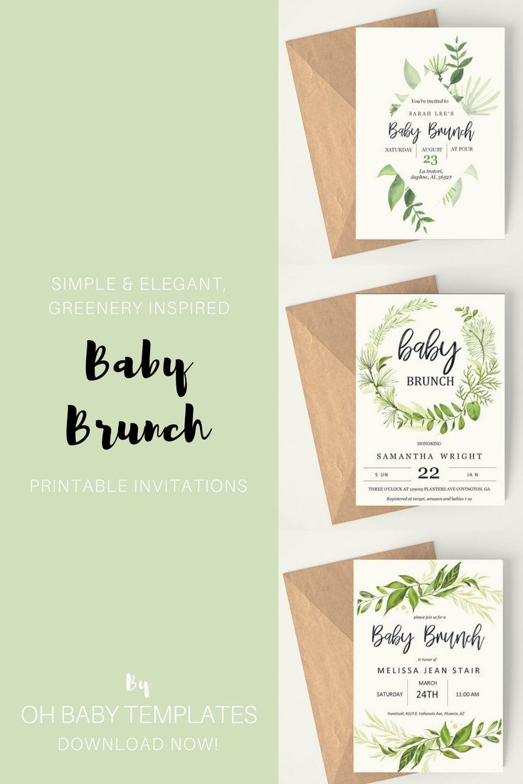 Baby Brunch Invitation Neutral Shower Custom Greenery Theme