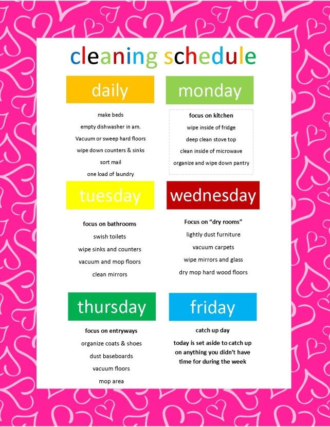 Weekly Cleaning Schedule  Mykmart Community Cleaning