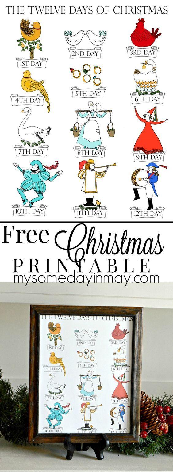 12 days of christmas free printable  [ 564 x 1534 Pixel ]