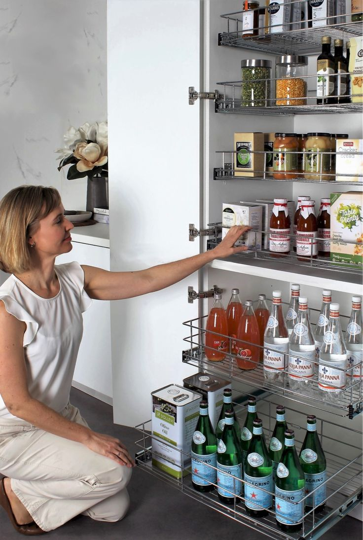 Easy access-never have to dig into the back of your pantry again #pantrystorage#kitchenrenovations#kitchendrawers#pulloutpantry