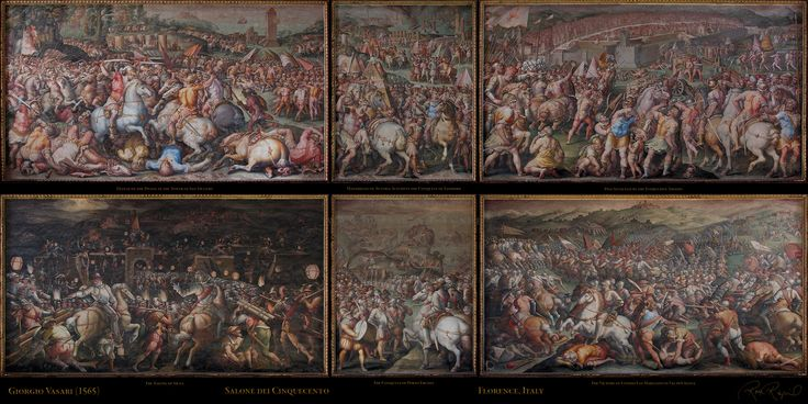 Vasari 39 s battle of marciano palazzo vecchio florence for Battle of marciano mural