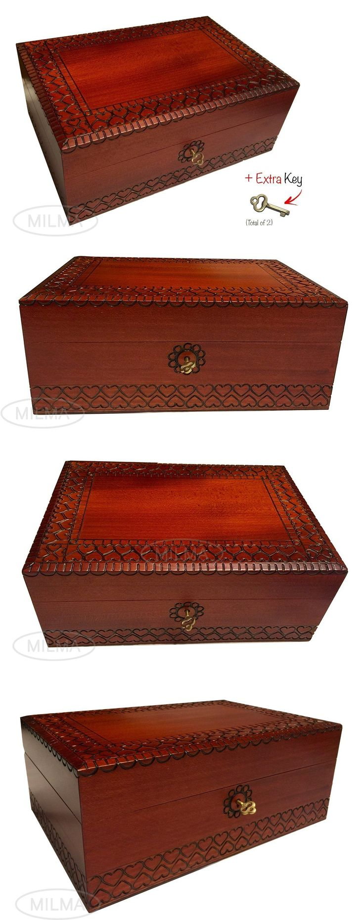jewelry boxes extra large wood box polish handmade wooden jewelry box keepsake lock and - Wood Jewelry Box