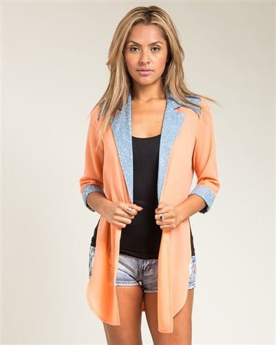 Coral & Blue Long Open Front Cardigan