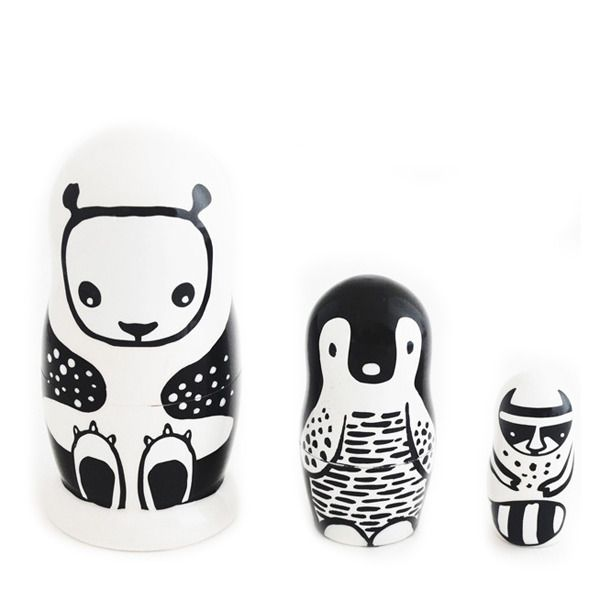 Meet our new inseparable friends, the panda, the penguin and the raccoon. They can't live without one another! They nest one inside each other like typical Russian dolls. They have been hand-painted in Russia especially for Wee Gallery... #babasoukbabasouk #birthdaygift #birthdaypresentforkids
