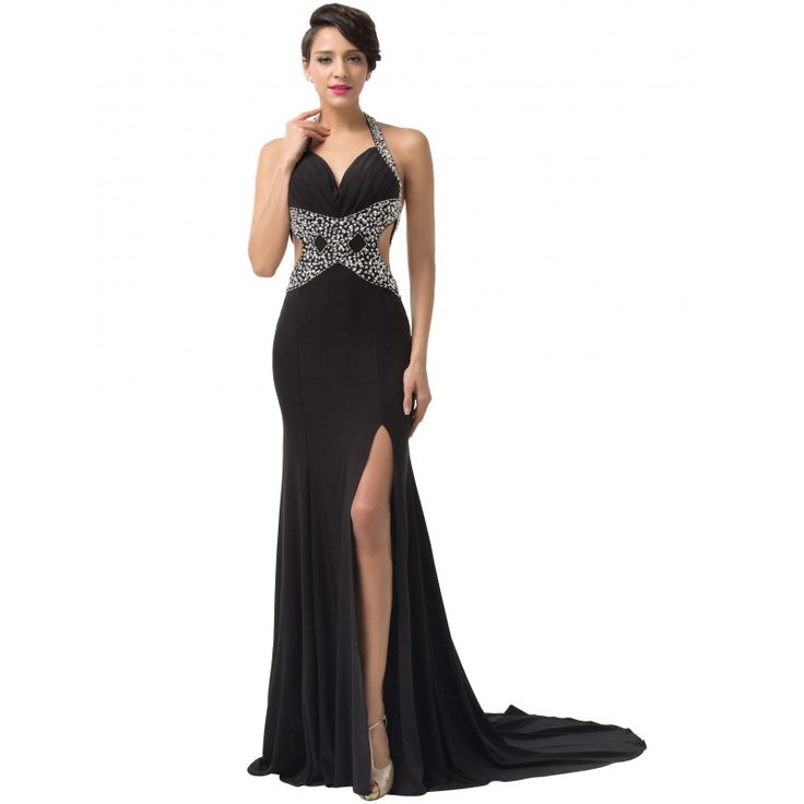 Čierne spoločenské šaty CL6155