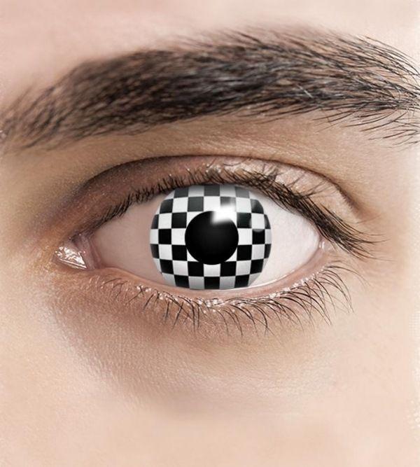checkered motif lens black and white pattern-halloween ideas for men