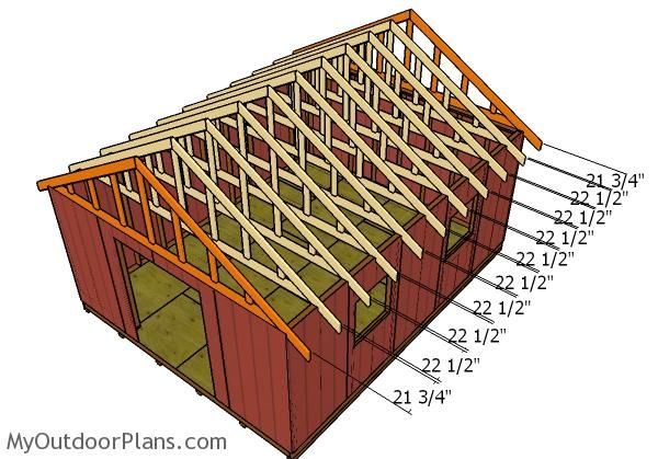 16x20 Gable Shed Roof Plans Myoutdoorplans Free Woodworking Plans And Projects Diy Shed Wooden Playhouse Perg In 2020 Pole Barn Plans Roof Plan 12x20 Shed Plans