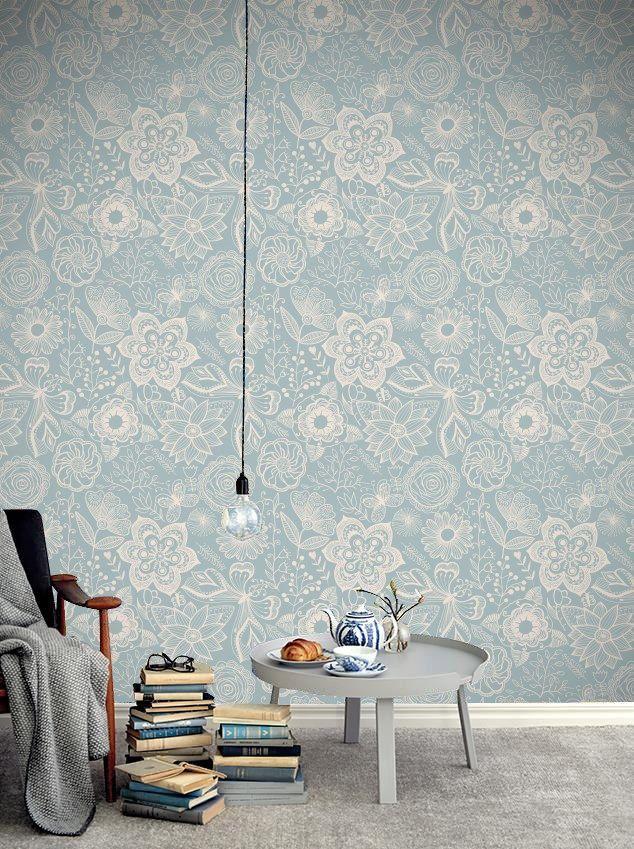 Οι Floral ταπετσαρίες είναι τάση!  Ταπετσαρία τοίχου: http://www.houseart.gr/select_use.php?id=281&pid=10822  #houseart #wallpaper #floral #blue #flowers #decoration #diy